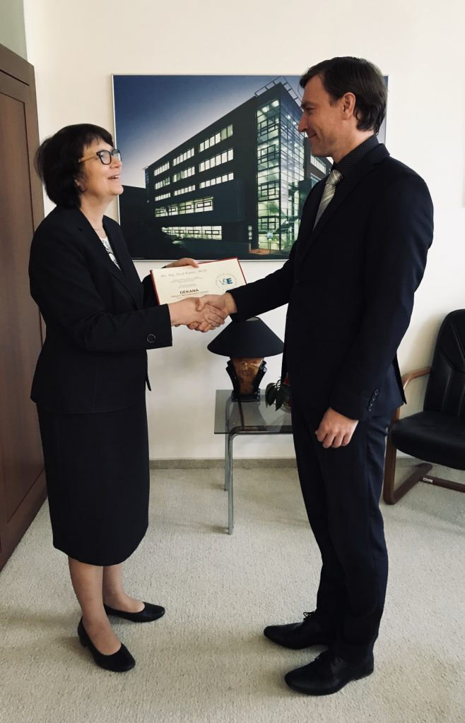 The Dean Josef Taušer received from the Rector a Decree for his Second Term in the Office